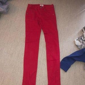 Hudson girls red skinny jeans